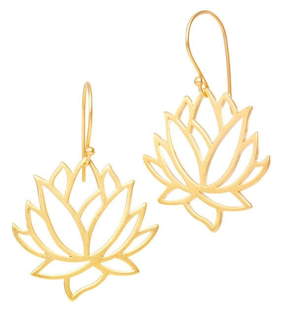 Lotus Flower Earrings, Gold Plated Sterling Silver, Mother's Day, Yoga Inspired, Gifts for Yogis, Graduation Gifts