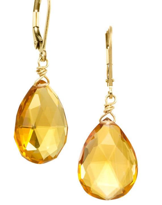 RESERVED for Aislinn - Citrine Drop Gemstone Earrings on 14k GF Earwires