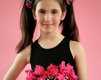 Zebra Punch HairBows Match Hot Pink Black