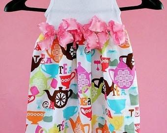 Tea Party Dress - Girl Party Dress - Tea Party Toddler - Pink Tea Dress - Pop Custom Dress - 6 month to 4T