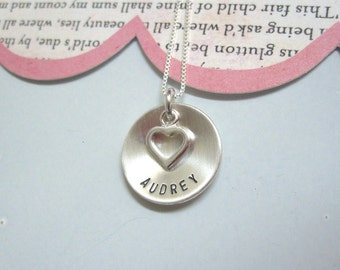 You Hold My Heart ..... Girls Hand Stamped Personalized Name Necklace
