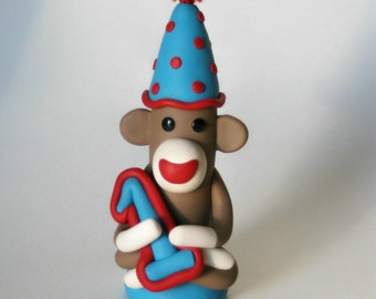 Cake Topper Sock Monkey Birthday Party Your Custom Colors Ornament