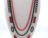 Red and Black Chain Necklace with Record Album Sequins Components