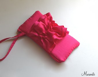 Fuchsia Ruffle Wristlet for Bridesmaids- See more colors