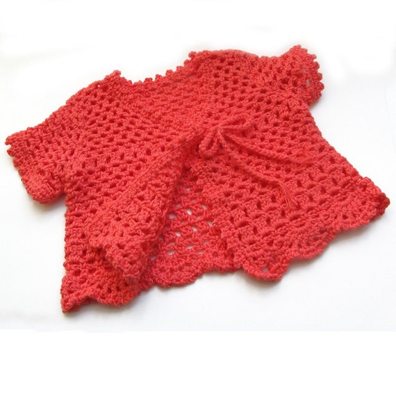 Crochet Toddler Top. Coral Short Sleeve Girls Sweater. Lacy Crochet Lightweight Summer Cardigan. Warm Red Orange. Child 2 to 3 Years