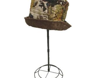 Reversible Cotton Hat, ''Geisha's Garden'', Brown Earthy Colors