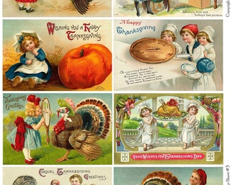Vintage Thanksgiving Postcards 3 Collage Sheet - Instant Download