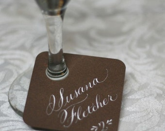 Wedding Wine Glass Tag Escort or Place Card with Handwritten Calligraphy