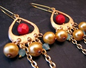 Red Blue and Gold Gypsy Earrings with Vintage Chain. Kivu