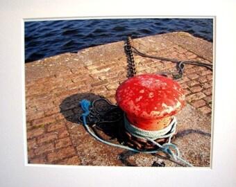 Mooring Post, Kinvara Quay, Co. GALWAY, Irish Photography, West of IRELAND, Gift for Dad, Fisherman, Red and Blue, Nautical Decor, Irish Sea