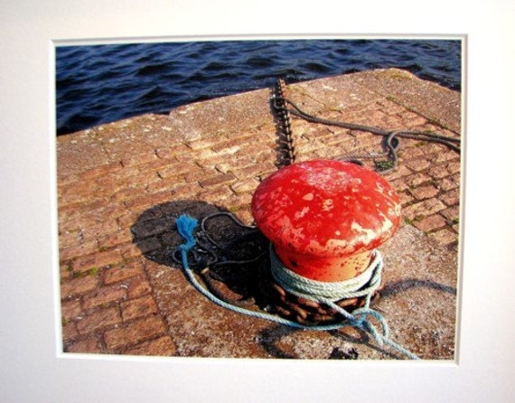 Mooring Post, Kinvara Quay, Co. GALWAY, Irish Photography, West of IRELAND, Gift for Dad, Fisherman, Red and Blue, Nautical Decor, Irish Sea