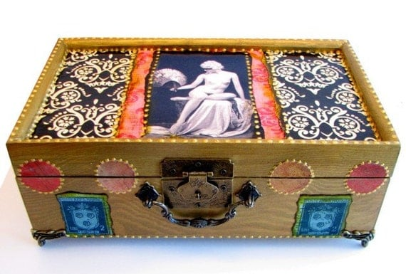 Erotic Jewelry Box with Vintage Female Nude in Mask, MATURE, Antique Erotica, Sexy Gift, Victorian Decor, Pink and Gold, Lined Keepsake Box