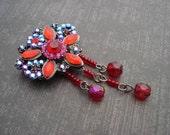 Rhinestone Flower Focal Bead Spacer