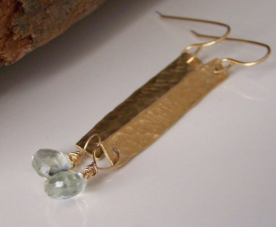 Etsy, Etsy Jewelry, Brass Matchstick Earrings with Green Amethyst, Hammered Stick Earrings, Etsy Jewelry, Jewelry