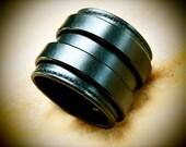 "Black Leather Cuff Bracelet Handstitched 2.5"" Luxury american Bridle Leather Handmade in NYC by Freddie Matara"