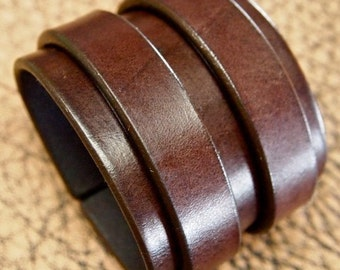 Leather cuff bracelet Double strap Rich brown bridle Leather Made for You using Refined techniques in NYC by Freddie Matara