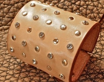 Leather bracelet natural Cuff double strap Studs and crystals