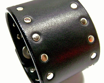 Black leather cuff 2 inch wide studded American bridle Bracelet wristband handmade for YOU in NYC by Freddie Matara