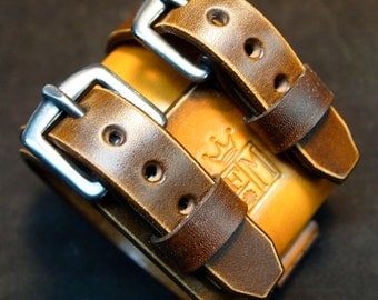 Leather Cuff watchband bracelet Depp style Distressed hand aged in New York City