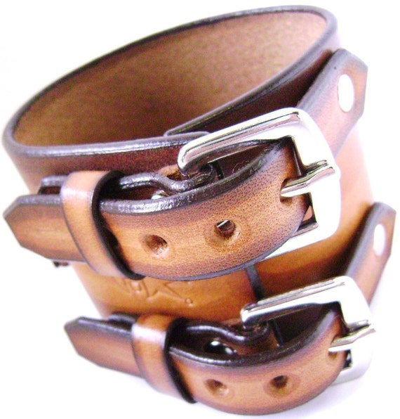 Leather watchband cuff Streaked fade Pirate style cuff bracelet hand made for YOU in NYC by Freddie Matara