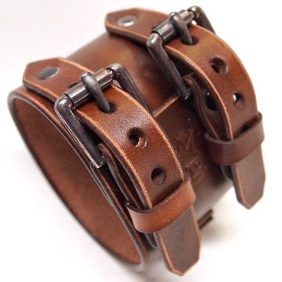 Leather Cuff Bracelet watchband Vintage Johnny Depp style wristband Handmade in NYC for YOU by Freddie Matara