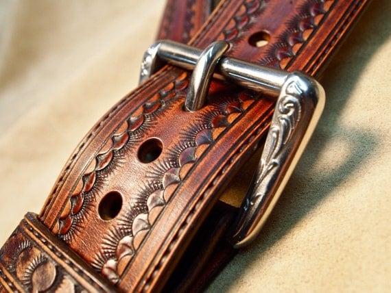 Leather guitar strap Brown Custom Western Vintage Star Hand tooled Fine Workmanship Handmade for YOU in NYC by Freddie Matara!
