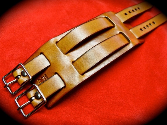 Leather cuff bracelet Tan Brown Double Strap Made for YOU in Brooklyn NYC by Freddie Matara