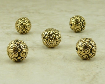 5 TierraCast Ornate Bali Style Casbah Round Beads > 22kt GOLD Lead-Free Pewter- I ship internationally - 5626