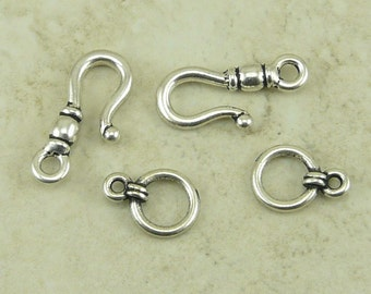 2 TierraCast Hook and Eye Clasps > Fish Hook Simple Classic - Silver Plated Lead Free Pewter - I ship Internationally