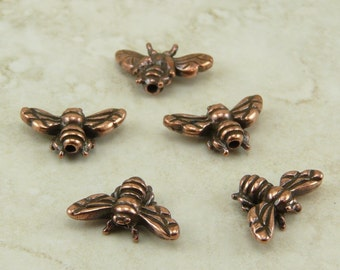 5 TierraCast Honeybee Honey Bee Beads > Bumble Bee Honeybee Insect - Copper Plated LEAD FREE pewter - I ship Internationally 5519