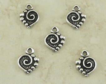 5 TierraCast Spiral Heart Charms > Love Valentine Bride Bridal Wedding - Silver Plated Lead Free Pewter - I ship Internationally 2074