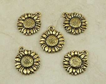 5 TierraCast Sunflower Flower Charms > Garden Floral Summer Happy - 22kt Gold plated Lead Free Pewter - I ship Internationally 2034