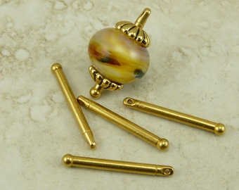 5 TierraCast 1 inch Bead Bar with Ball End - 22kt Gold Plated Lead Free Pewter - I ship Internationally 2241