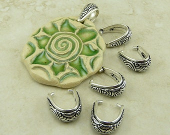 5 TierraCast Spiral Pinch Bails > Swirl Celtic Zen Doodle - Fine Silver Plated Lead Free Pewter - I ship internationally - 5784