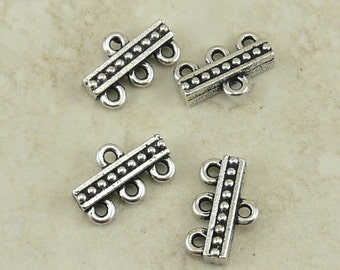Beaded 3-1 Link Connector - TierraCast Fine Silver Plated LEAD FREE Pewter - 3055
