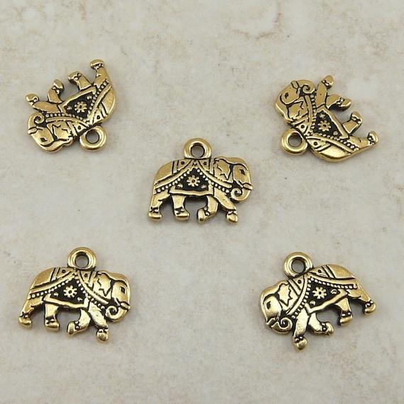 5 TierraCast Gita Elephant Charms > 22kt Gold Plated Lead Free pewter -  Sacred Ganesha India Hindu Buddha - I ship Internationally 2176