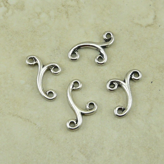 4 TierraCast Melody Scroll 2-1 Links - Fine Silver Plated Lead Free Pewter - I ship internationally 3078