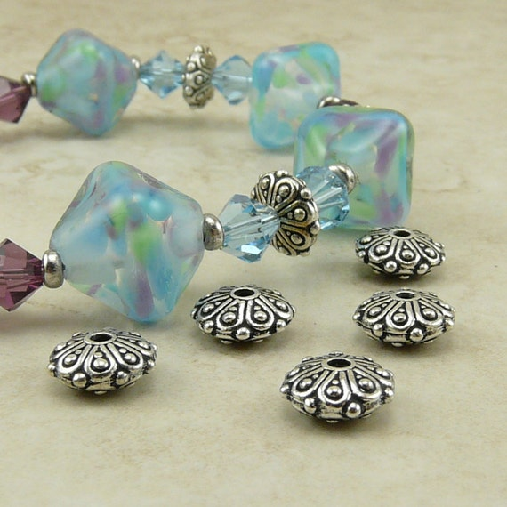5 TierraCast Oasis Ornate Rondelle Beads > Bali Style Exotic Beautiful - Fine Silver plated Lead Free Pewter- I ship internationally 5627