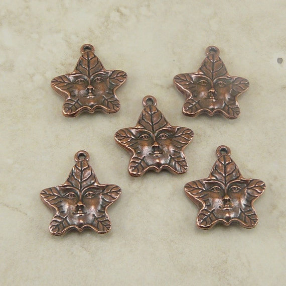 5 TierraCast Tree Spirit or Green Man Leaf Charms > Nature Fairy Forest - Copper Plated Lead Free Pewter - I ship internationally 2121