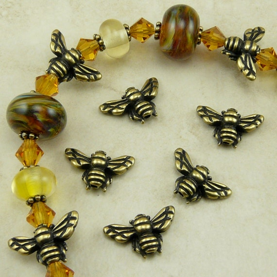 5 TierraCast Honey Bee Beads > Bumble Bee Honeybee Insect Garden Spring - Brass Ox Plated Lead Free pewter - I ship Internationally 5519