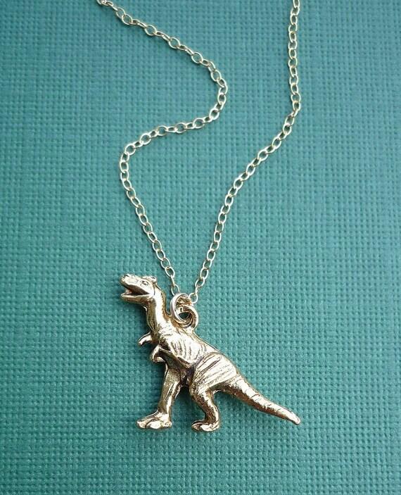 Gold Tyrannosaurus Rex Dinosaur Necklace
