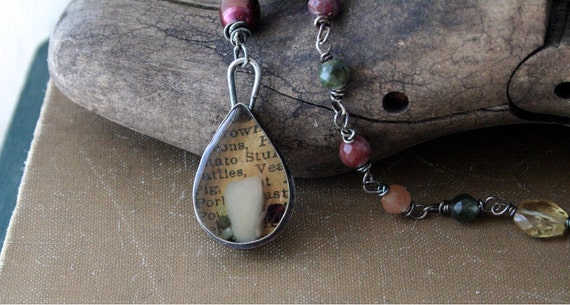 Mixed Media Necklace Sterling Silver, Fiber, Resin, Pearl, Garnet, Raw Diamond-Reliquary No.3