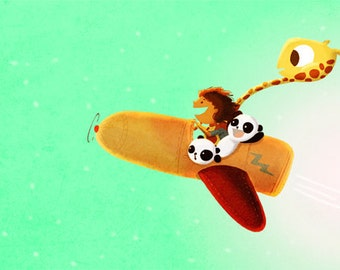 "Pandas Art, Airplane Decor, Giraffe, Green Art, Boys Room, Print for Nursery, Kids Wall Art - ""Green means go"""