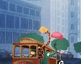 "San Francisco Baby, Cable Car Print, Rain Painting, Giraffe Painting - ""Here comes the rain"""