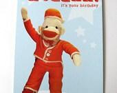 HUZZAH  sock monkey birthday greetings