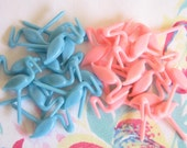46 Vintage Stork Candle Holders CupCake Toppers Pink Blue