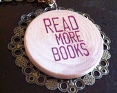 Read More Books Antiqued Bronze Pendant Necklace