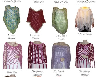 Crochet Poncho Pattern Collection PDF's  Made In USA