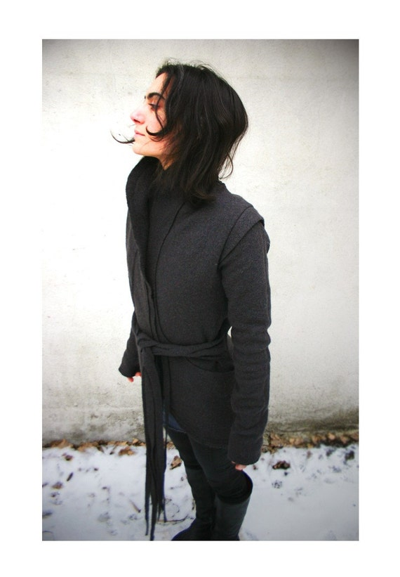 WISP-Charcoal Bolied Wool Wrap Sweater