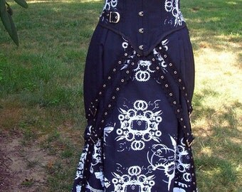 Custom Fishtail Victorian Skirt with Gears Print